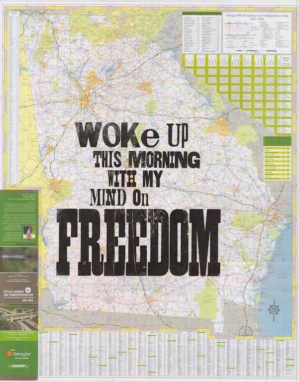 """Woke up this morning with my mind on freedom"" by Amos Kennedy"